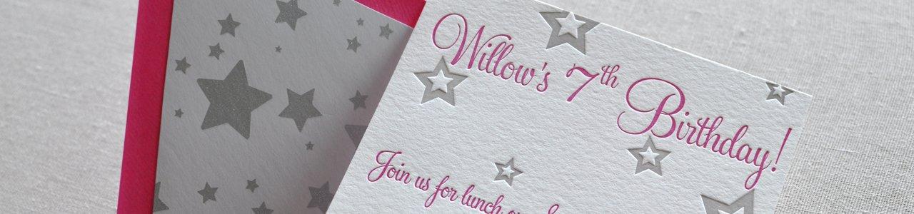 Willows Custom Letterpress Birthday Invitation Paperwheel – Letterpress Party Invitations