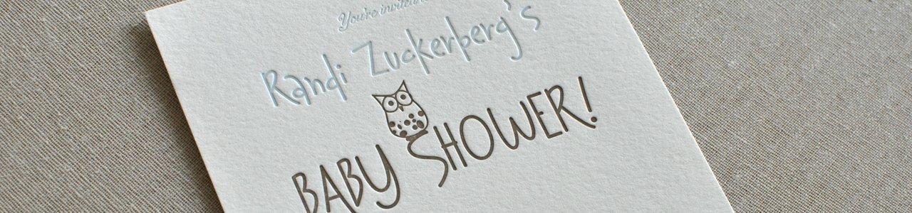 Randi Zuckerbergs Custom Letterpress Baby Shower InvitationPaperwheel