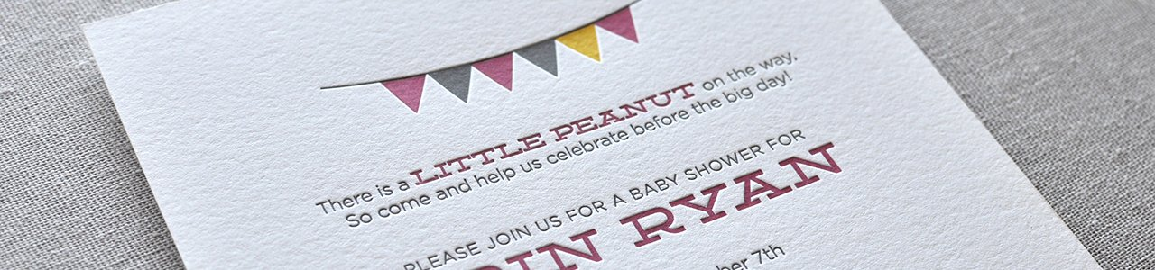 Custom Circus Letterpress Baby Shower Invitation