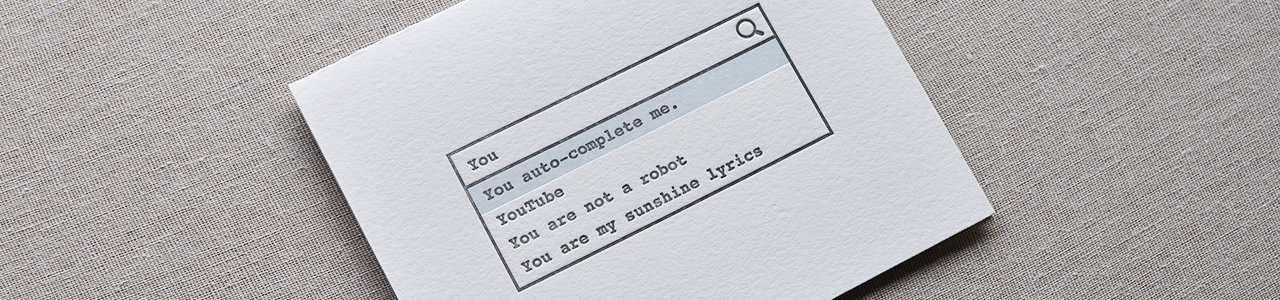 Auto-Complete Letterpress Nerd Greeting Card